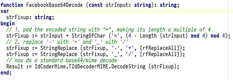 Delphi and Facebook Base64 Url Encoding