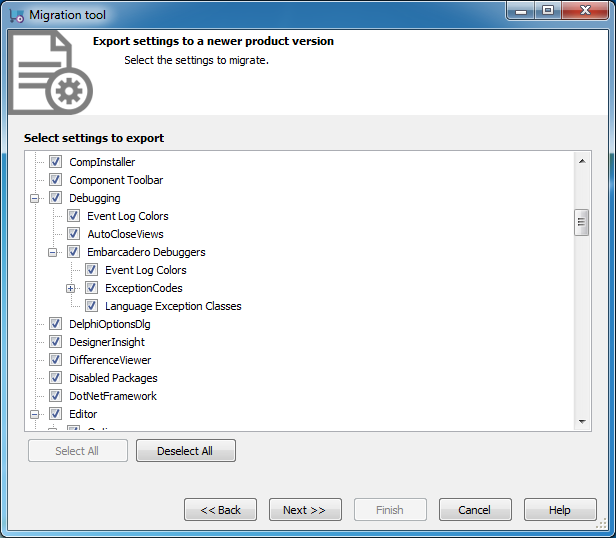 Migration Settings Page