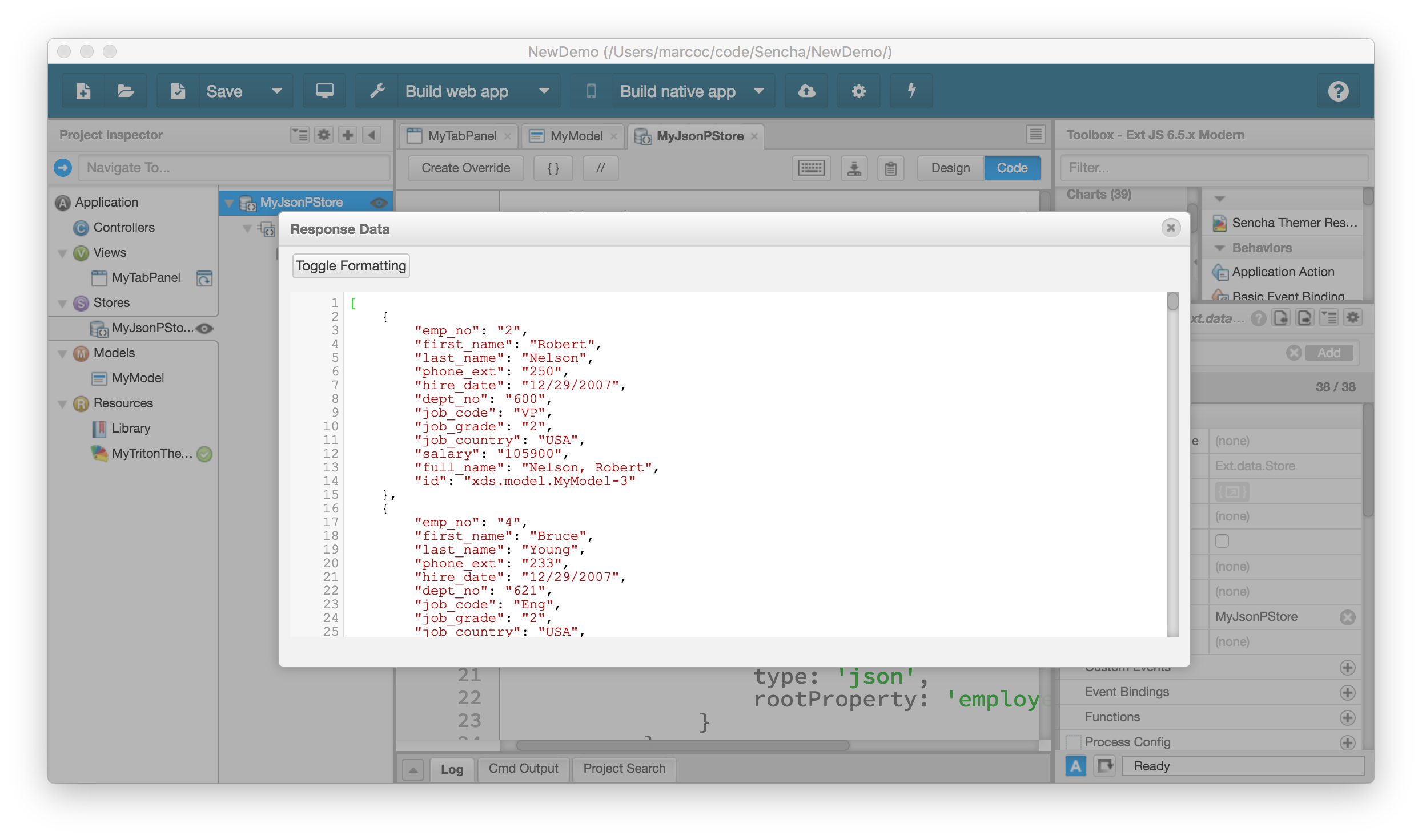 Implementing AJAX and JSONP Support in RAD Server for ExtJS