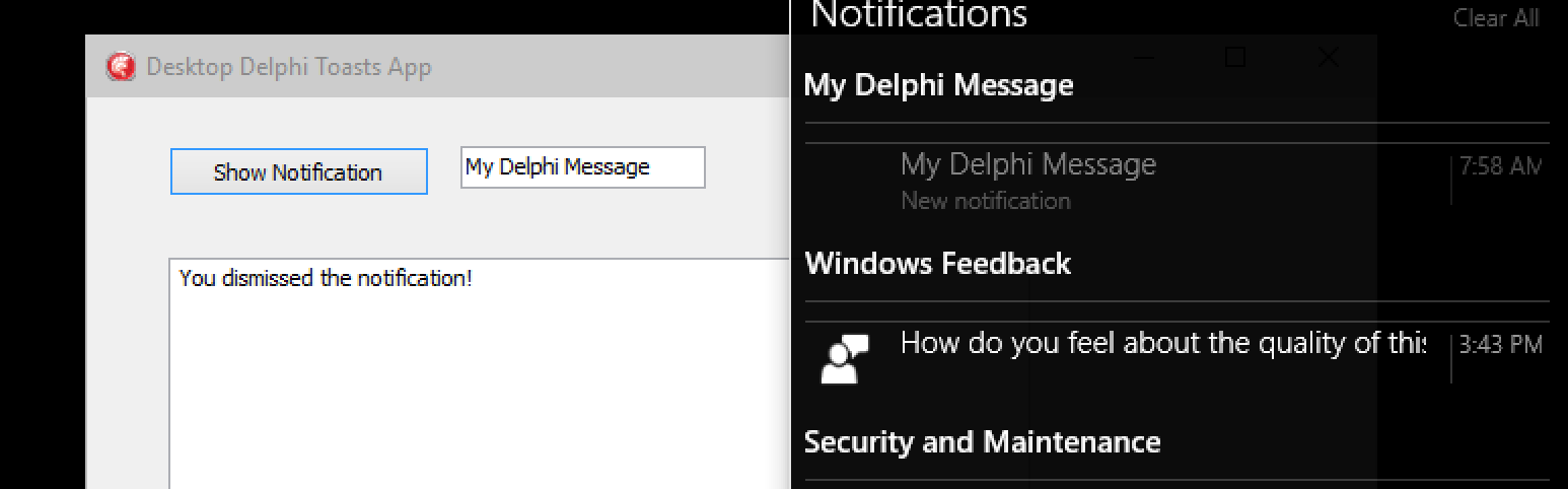 Windows 10 Notifications from a VCL app with the WinRT API