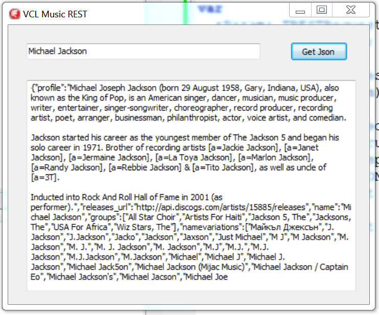 Source Code of a VCL REST Music Client